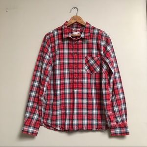 Merona red plaid popover top